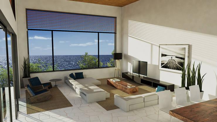 Casa Toninhas: Salas de estar  por MM18 Arquitetura