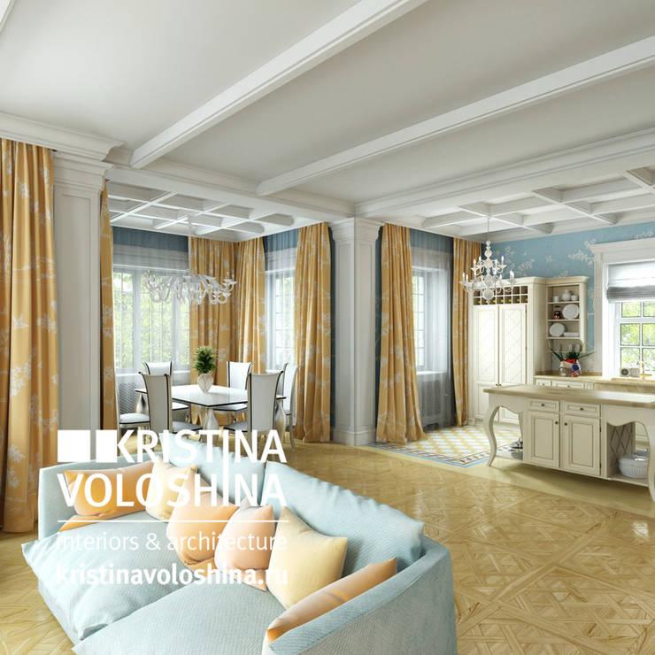 Дом  на Рублёвском шоссе 345 м кв: Гостиная в . Автор – kristinavoloshina