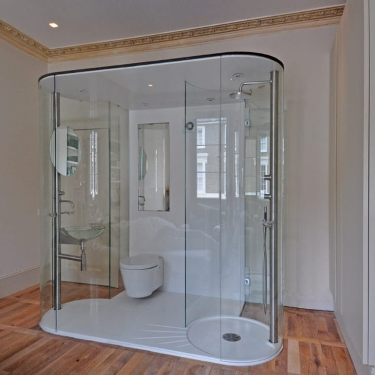 Glass Bathroom:  Bathroom by Peter Bell Architects