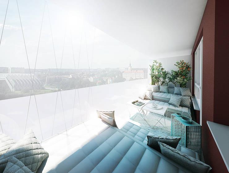 Balkon z zestawem mebli wypoczynkowych wg indywidualnego projektu: styl , w kategorii Taras zaprojektowany przez HUK atelier