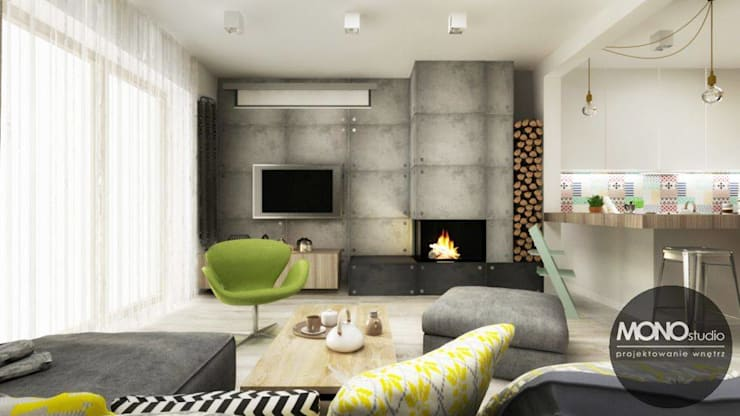 Akcentem mocno charakterystycznym są jasne, naturalne barwy.: styl , w kategorii Salon zaprojektowany przez MONOstudio