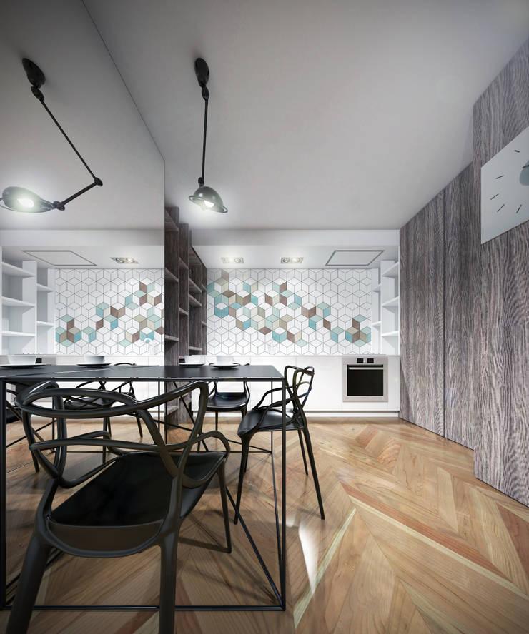 Kuchnia z jadalnią: styl , w kategorii Kuchnia zaprojektowany przez HUK atelier