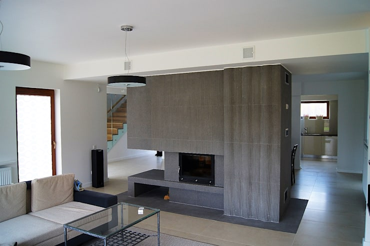 Dom Jednorodzinny PW wnętrza : styl , w kategorii Salon zaprojektowany przez Innebo,Nowoczesny