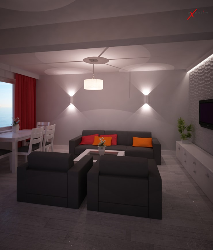Dom z poddaszem: styl , w kategorii Salon zaprojektowany przez Axentim