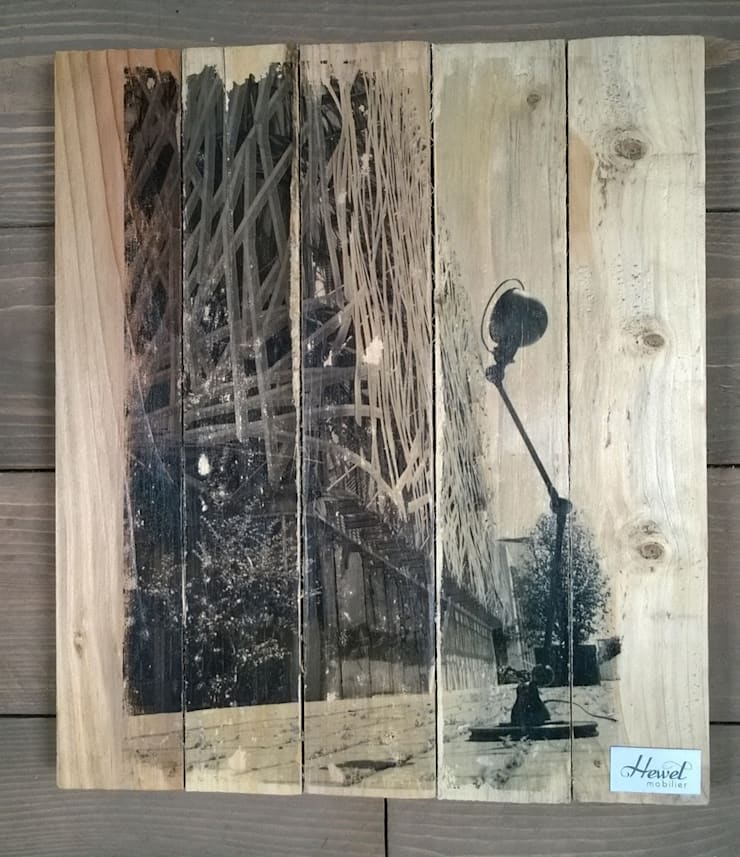 Tableaux décoratifs impressions sur bois, création Hewel mobilier: Murs & Sols de style  par Hewel mobilier