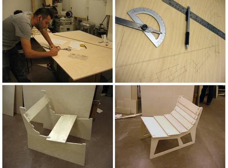 monoblok design & interiors – Nomad Plywood Armchair:  tarz Oturma Odası