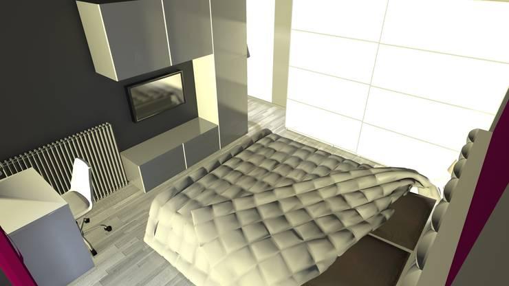 Rendu 3D de la chambre après travaux : l'espace télé Chambre moderne par KARA Design Moderne