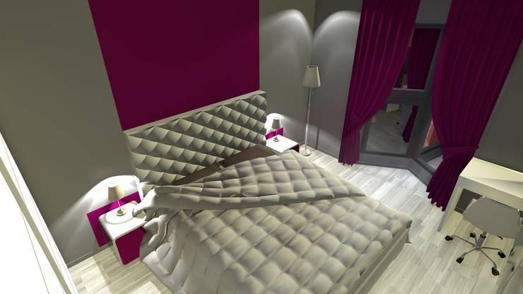 Rendu 3D de la chambre après travaux : l'espace lit Chambre moderne par KARA Design Moderne