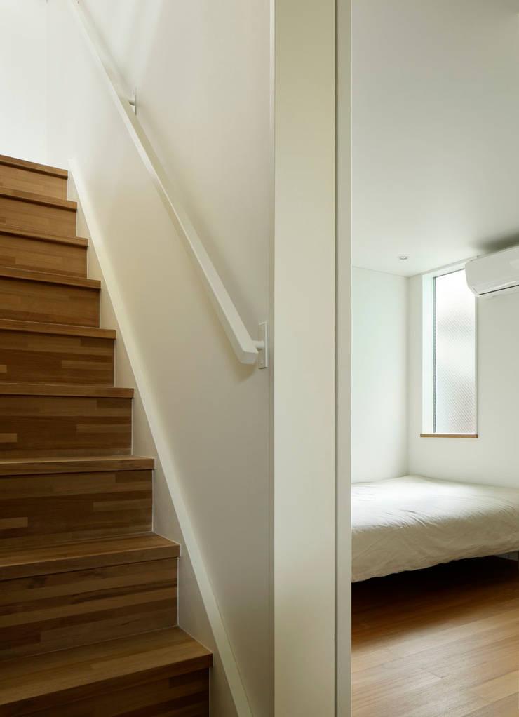 横浜の小住宅: hiroshiが手掛けた寝室です。