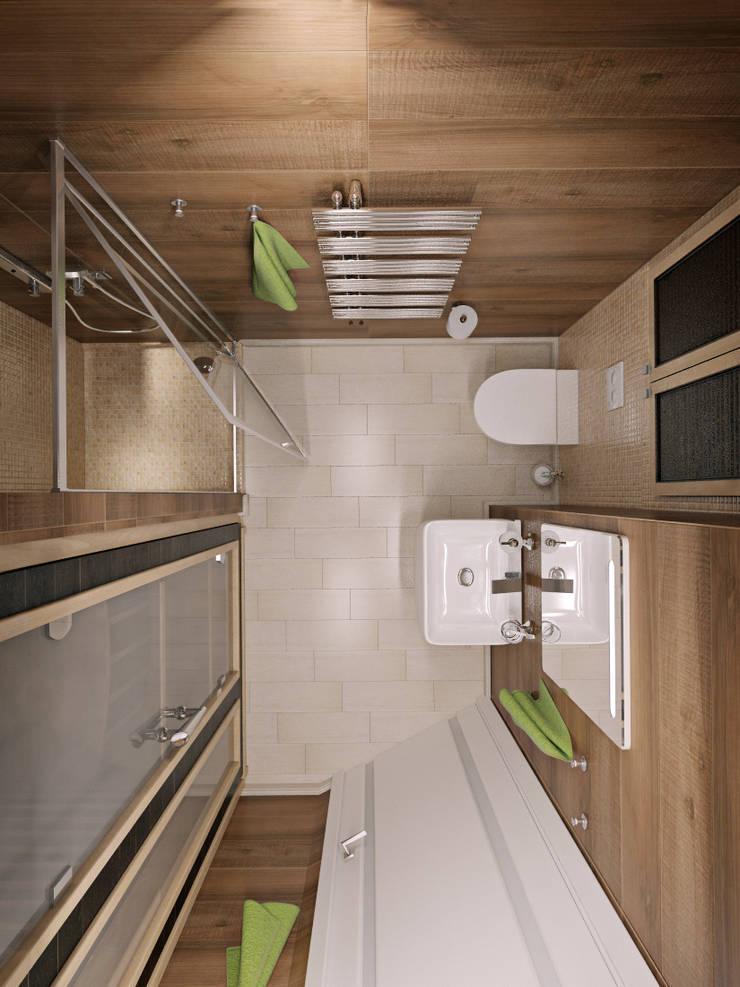 трехкомнатная квартира в г.Железнодорожном: Ванные комнаты в . Автор – 'Лайф Арт'