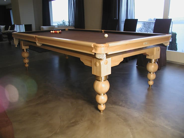 9 ft ( 274 x 137 cm) Spinrea Contemporary Snooker/Pool Diner in solid maple wood:  Dining room by HAMILTON BILLIARDS & GAMES CO LTD