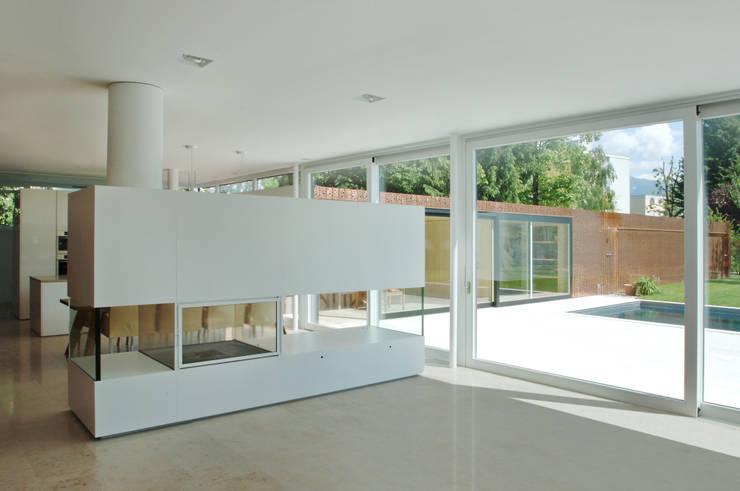 Einfamilienhaus in Lustenau / Österreich:  Wohnzimmer von Früh Architekturbüro ZT  GmbH