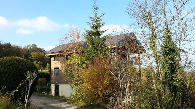 Le nouveau chalet : la façade Ouest derrière son rideau d'arbres.: Maisons de style  par Sarl Rémy Guesné Architecte