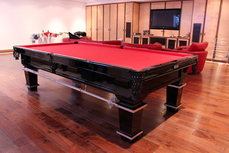 9 ft Ojjeh Snooker/Pool Table with red cloth.:  Dining room by HAMILTON BILLIARDS & GAMES CO LTD