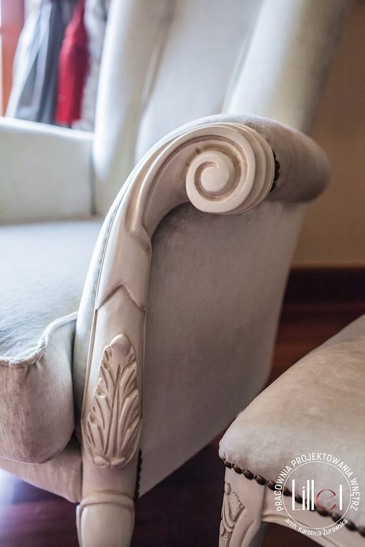 Fotel: styl , w kategorii Sypialnia zaprojektowany przez ATELIER LILLET Karolina Lewandowska