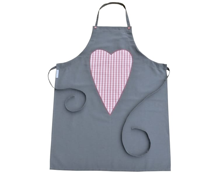 fartuch kuchenny grafitowy z sercem w różowobiałą kratkę: styl , w kategorii Kuchnia zaprojektowany przez Drewniany Guzik