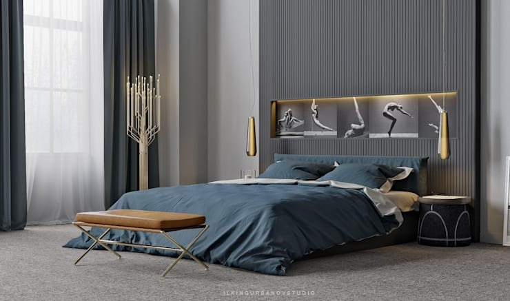 Современная спальня: Спальни в . Автор – ILKIN GURBANOV Studio,
