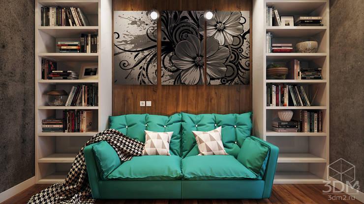 Salones de estilo industrial de студия визуализации и дизайна интерьера '3dm2'