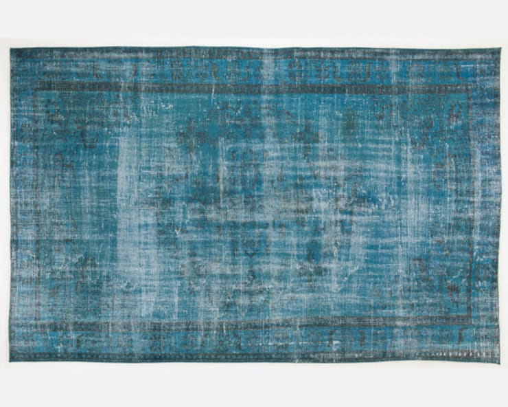 Vintage Handmade Over-Dyed Rug in Blue & Turquoise 010:  Living room by All the hues