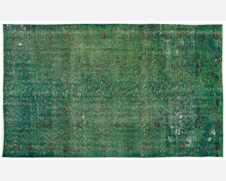 Vintage Handmade Over-dyed Rug In Emerald Green 002:  Living room by All the hues