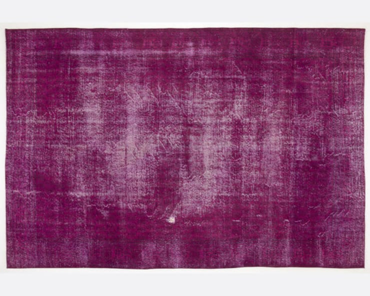 Vintage Handmade Over-dyed Rug In Fuchsia 005:  Living room by All the hues