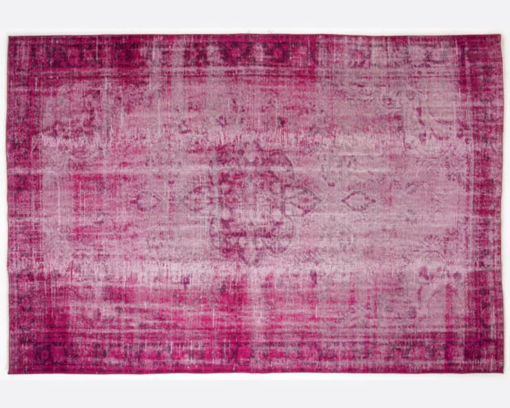 Vintage Handmade Over-dyed Rug In Fuchsia 003:  Living room by All the hues