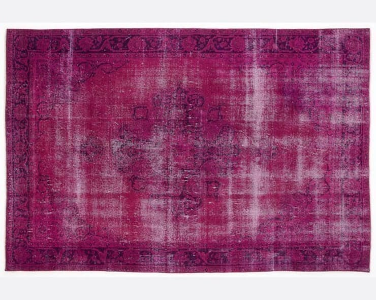 Vintage Handmade Over-dyed Rug In Fuchsia 001:  Living room by All the hues