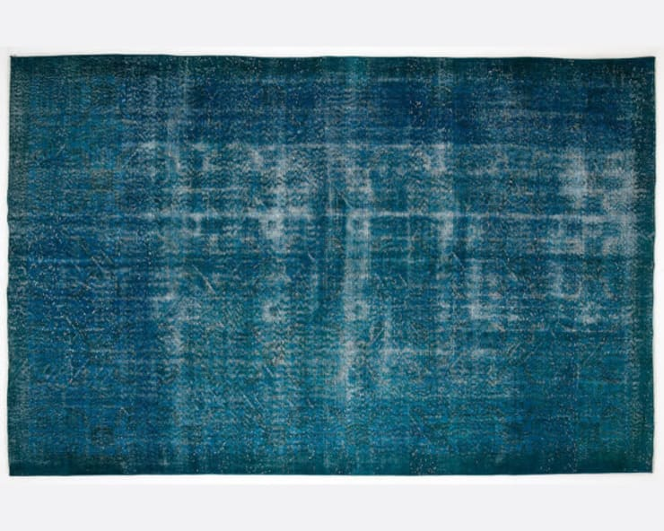 Vintage Handmade Over-dyed Rug In Turquoise 005:  Living room by All the hues