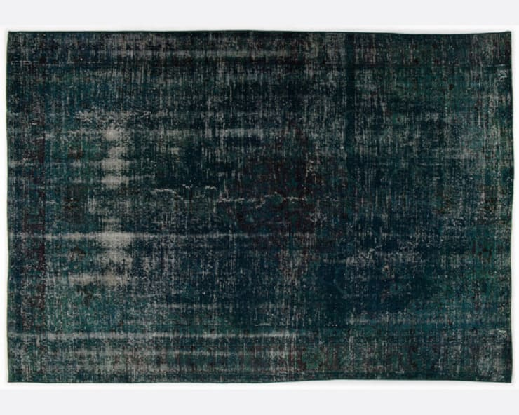 Vintage Handmade Over-dyed Rug In Deep Green:  Living room by All the hues