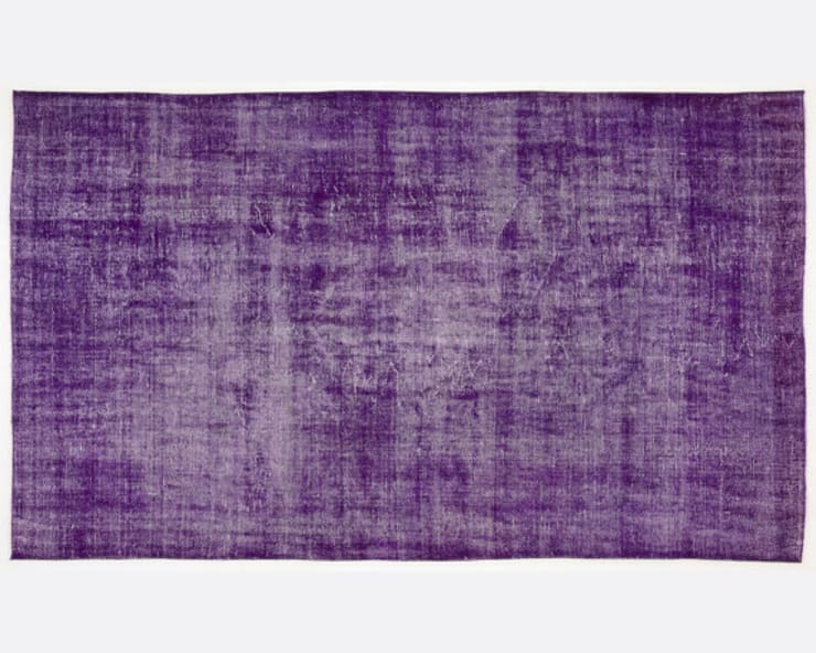 Vintage Handmade Over-dyed Rug In Purple 004:  Living room by All the hues
