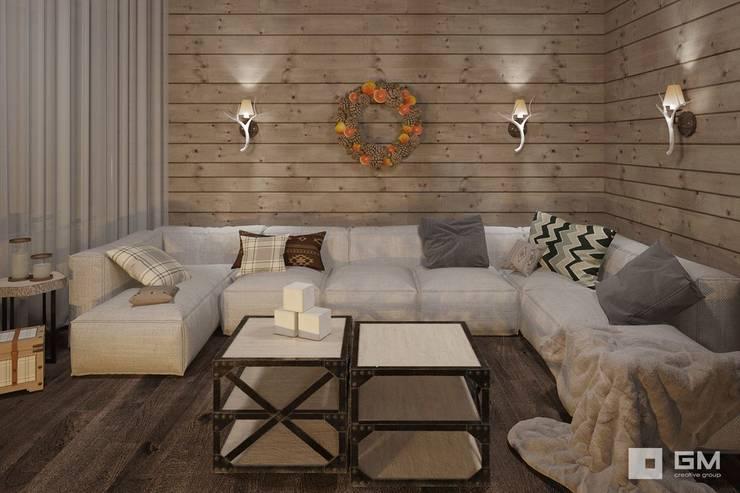 Дизайн интерьера дома в стиле шале : Гостиная в . Автор – GM-interior