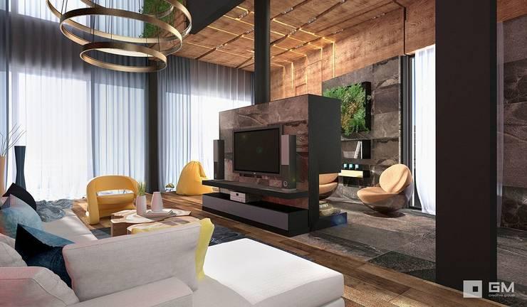 Дом по Рублево-Успенскому шоссе : Гостиная в . Автор – GM-interior