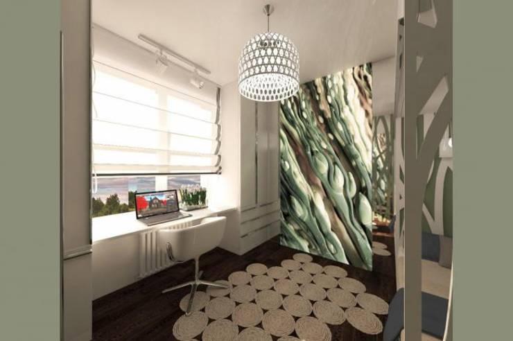 """Квартира в ЖК """"Микрогород в лесу"""": Рабочий кабинет  в . Автор – Архитектурное бюро 'Золотые головы'"""