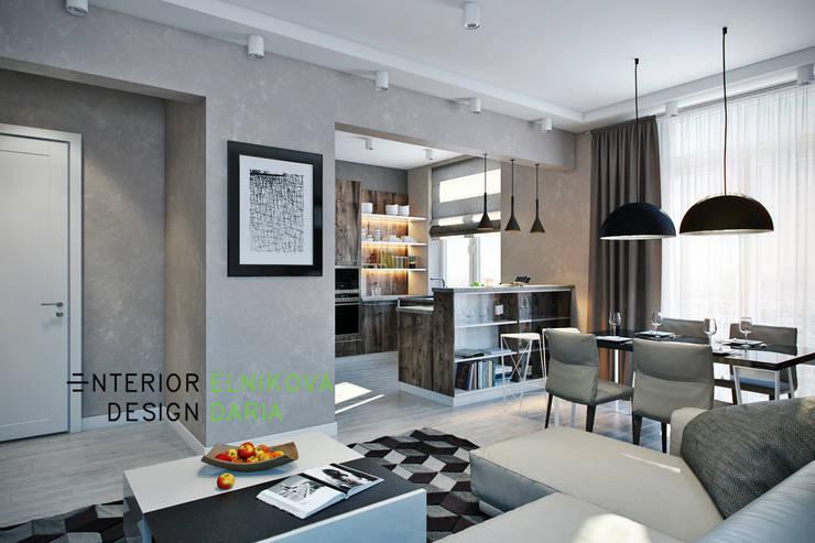 Гостиная объединенная с кухней: Гостиная в . Автор – Студия архитектуры и дизайна Дарьи Ельниковой