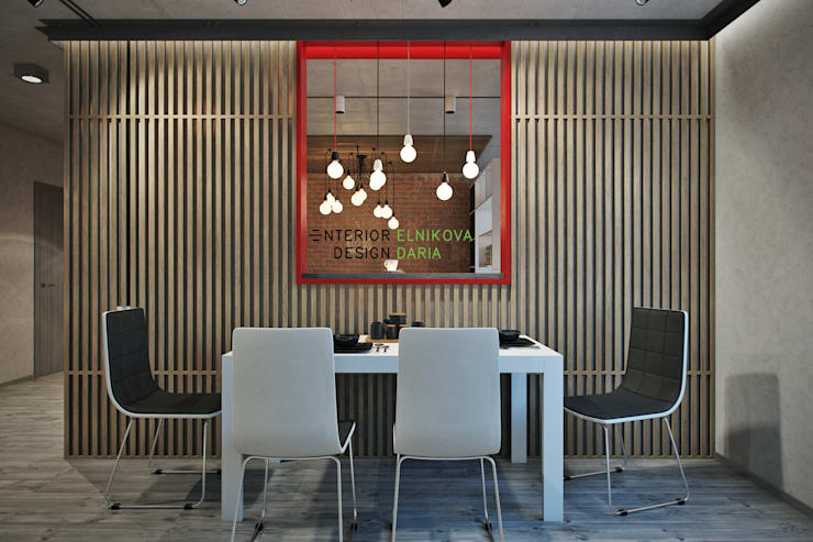 Квартира 95 кв.м. в стиле лофт: Столовые комнаты в . Автор – Студия архитектуры и дизайна Дарьи Ельниковой, Лофт