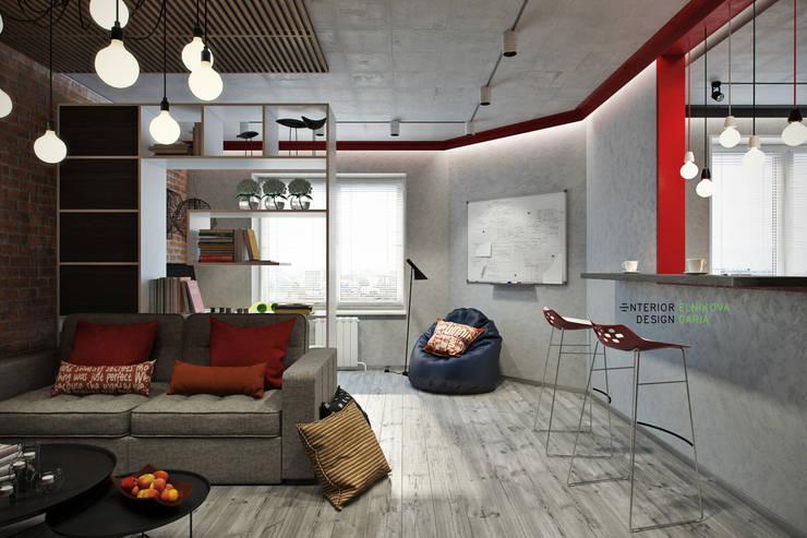 Гостиная: Гостиная в . Автор – Студия архитектуры и дизайна Дарьи Ельниковой, Лофт