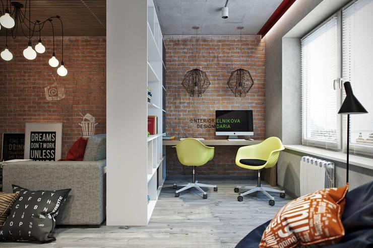 Квартира 95 кв.м. в стиле лофт: Рабочие кабинеты в . Автор – Студия архитектуры и дизайна Дарьи Ельниковой, Лофт