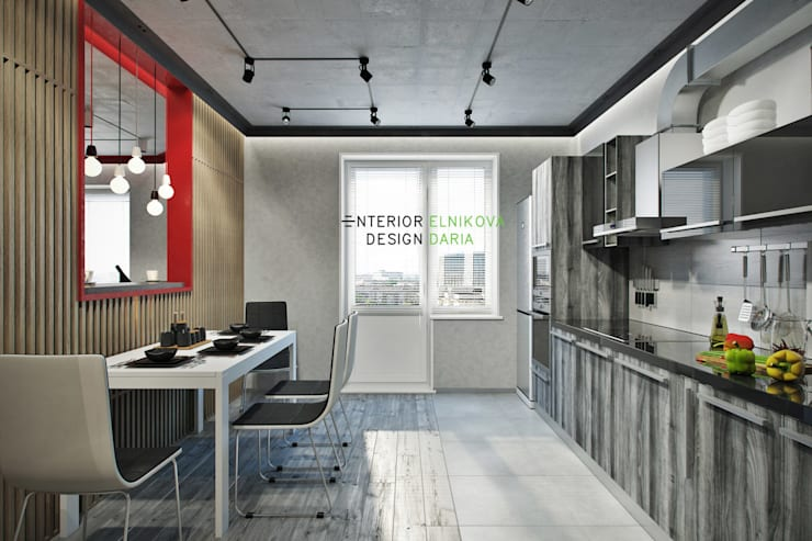 Квартира 95 кв.м. в стиле лофт: Кухни в . Автор – Студия архитектуры и дизайна Дарьи Ельниковой