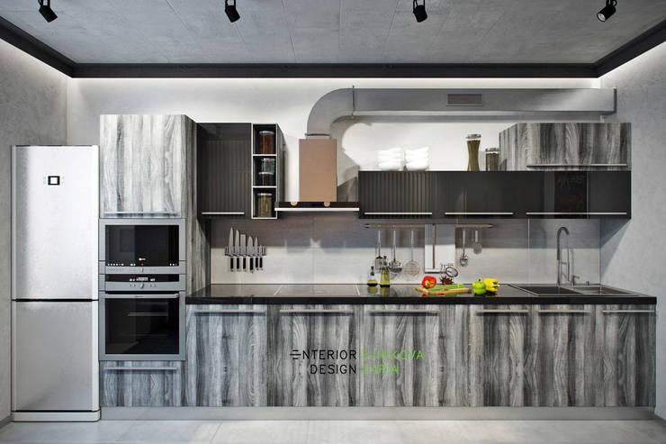 Квартира 95 кв.м. в стиле лофт: Кухни в . Автор – Студия архитектуры и дизайна Дарьи Ельниковой, Лофт
