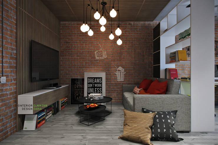 Квартира 95 кв.м. в стиле лофт: Гостиная в . Автор – Студия архитектуры и дизайна Дарьи Ельниковой, Лофт