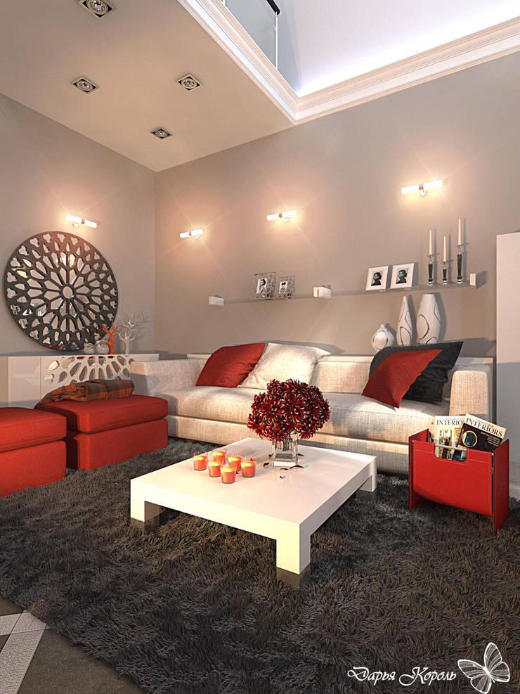 2 storey living room in a private house. Belgorod: Гостиная в . Автор – Your royal design