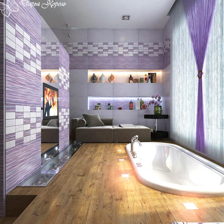 Bathroom with a podium in lilac tones: Ванные комнаты в . Автор – Your royal design