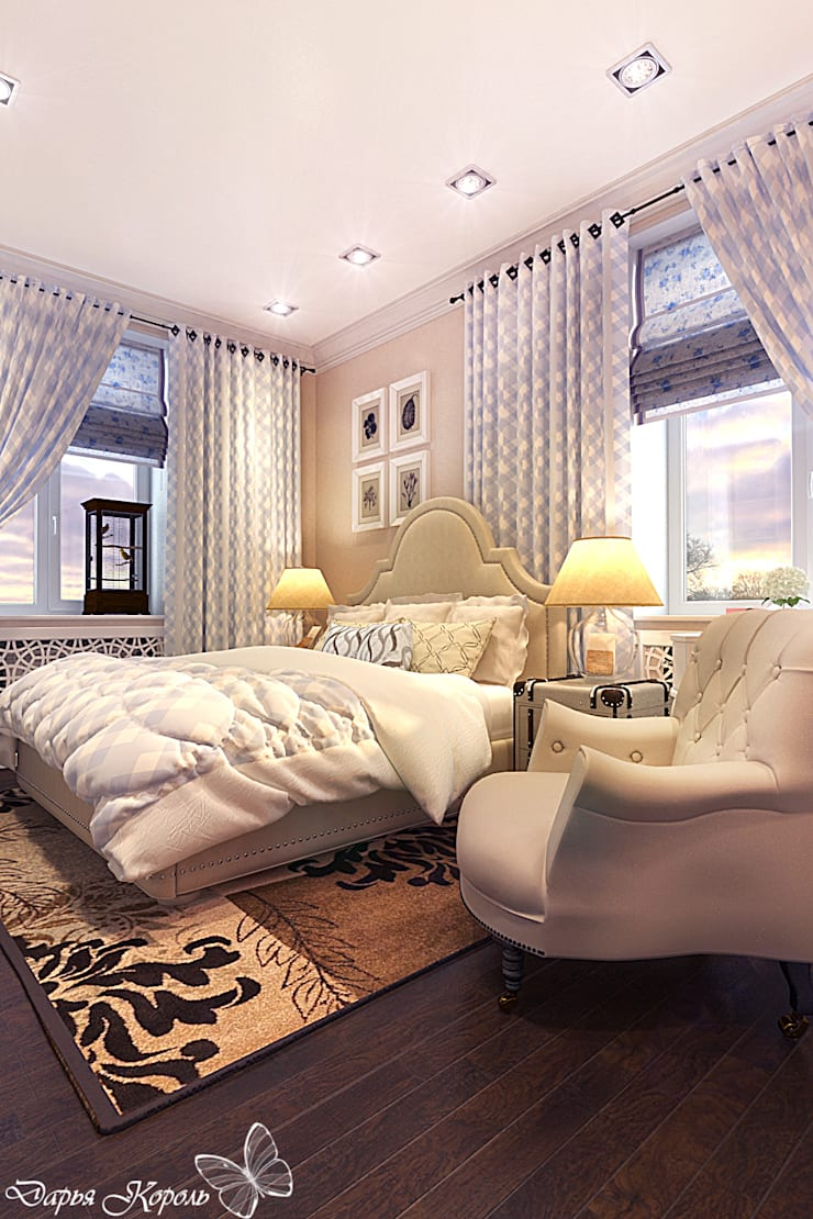 Bedroom with blue accents: Спальни в . Автор – Your royal design