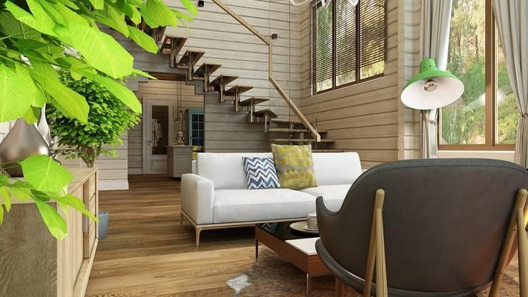 Дизайн проект загородного дома п. Бурцево: Гостиная в . Автор – Apolonov Interiors