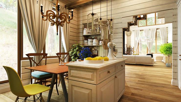 Дизайн проект загородного дома п. Бурцево: Кухни в . Автор – Apolonov Interiors