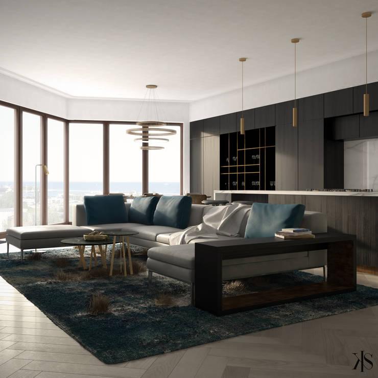 Apartament w Gdańsku: styl , w kategorii Salon zaprojektowany przez Kamińska Stańczak