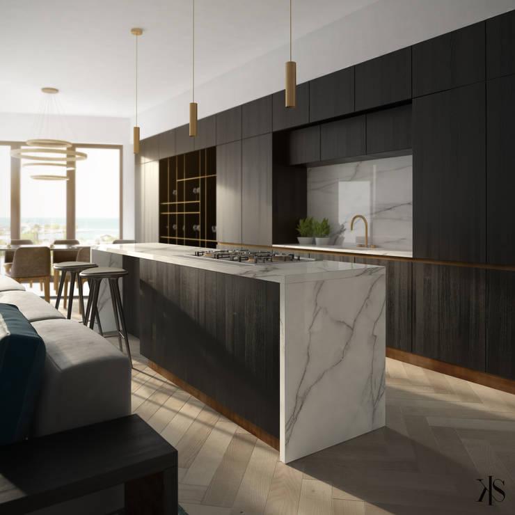 Apartament w Gdańsku: styl , w kategorii Kuchnia zaprojektowany przez Kamińska Stańczak