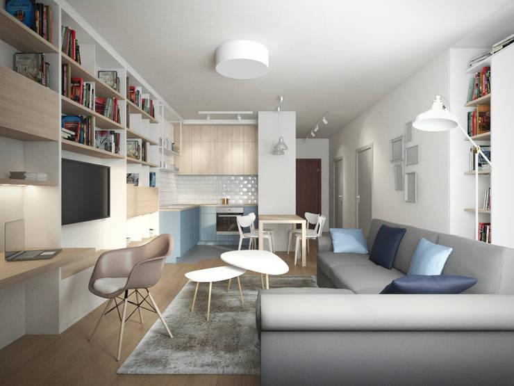 Mieszkanie w Warszawie: styl , w kategorii Salon zaprojektowany przez Kamińska Stańczak,