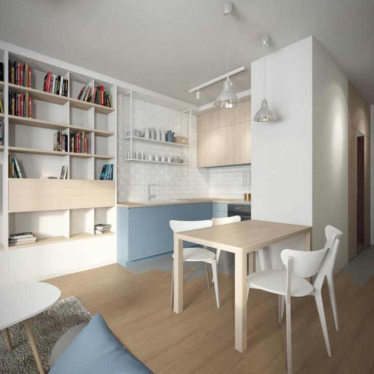 Mieszkanie w Warszawie: styl , w kategorii Jadalnia zaprojektowany przez Kamińska Stańczak,