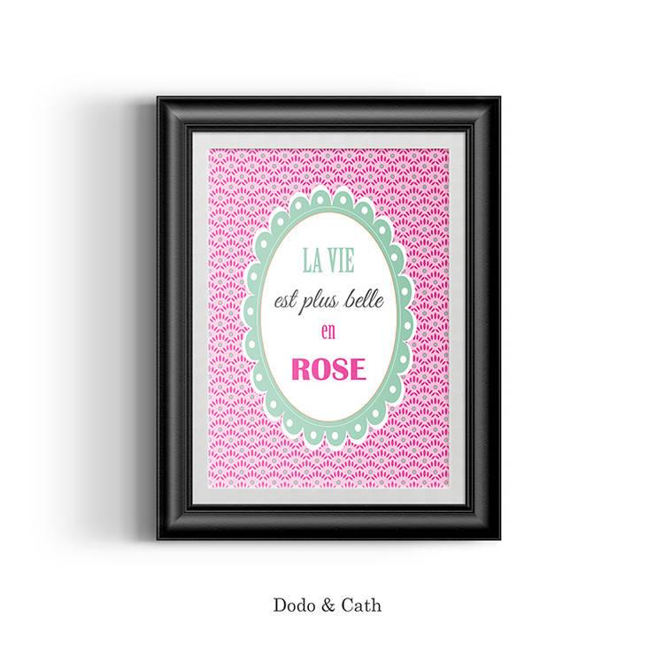 Affiche Rose: Chambre d'enfants de style  par Dodo & Cath